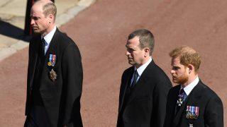 Peter Phillips y los duques de Cambridge y Sussex en el funeral / Gtres