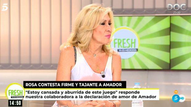 La colaboradora ha desbaratado con mucha contundencia la posibilidad de darle una segunda oportunidad a Amador Mohedano / Telecinco
