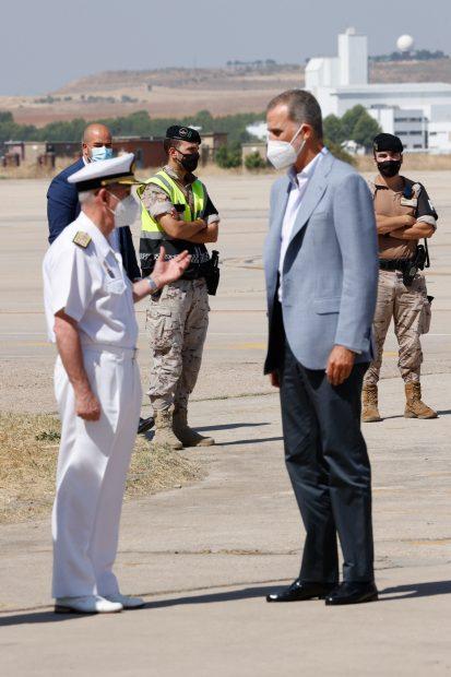 El Rey Felipe VI ha acudido en la mañana del sábado a la Base Aérea de Torrejón de Ardoz -Madrid-./Gtres