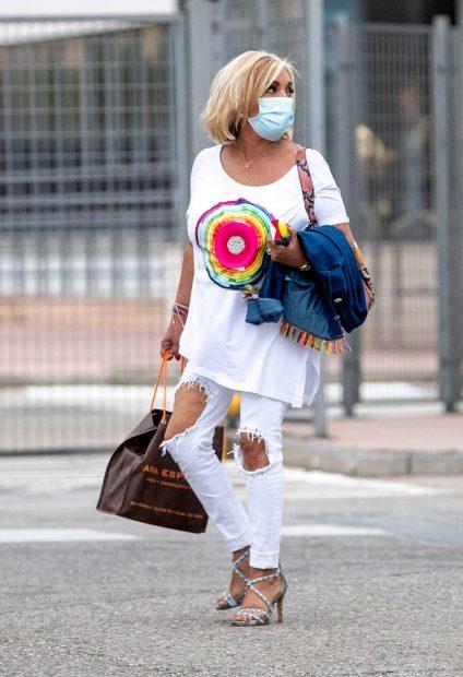 Carmen Borrego, saliendo de su primer día en 'Sálvame', dos años después de su marcha / Gtres