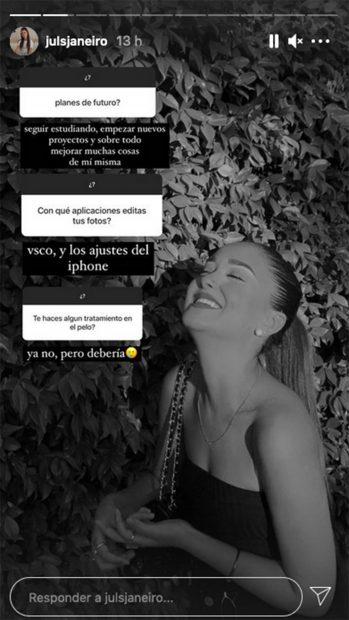 Julia Janeiro ha respondido a varias preguntas en Instagram./Instagram @julsjaneiro