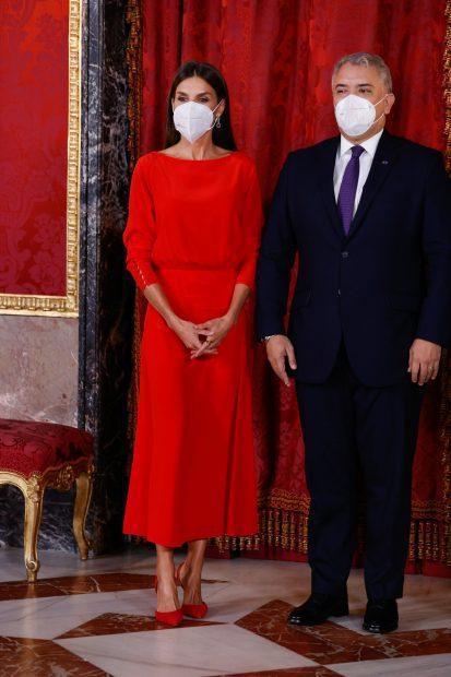 La Reina Letizia durante su intervención en un evento con el presidente de Colombia./Gtres