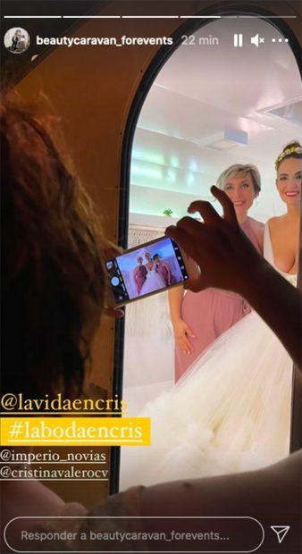 Cristina Rodríguez ha lucidoun vestido de tul para el día de su boda./Instagram @beautycaravan_forevents