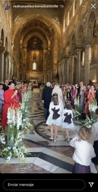 Interior de la catedral donde Jaime de Borbón-Dos Sicilias y Lady Charlotte Lindesay-Bethune se han dado el 'sí, quiero'./Instagram @realcasadibonduesicilie