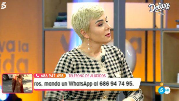 Ana María Aldón ha vivido una tarde de tensión en el plató de 'Viva la Vida'./Telecinco